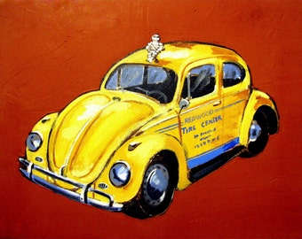 Yellow Buggy VW car 70's, Bibendum Michelin, Mill Valley Tam Junction, Original Painting, Mixed media, 14x18, Free Shipping in USA.