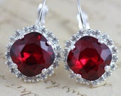 Red Crystal Earrings Silver Earrings Bridesmaids Earrings Swarovski Crystal Earrings Dangle Christmas Siam Bridal Earrings Red Wedding
