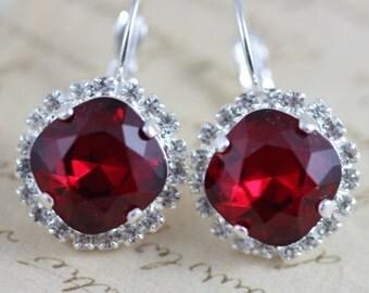 Red Earrings Silver Earrings Clip On Avail Bridesmaids Earrings Swarovski Crystal Earrings Crystal Earrings Dangle Christmas Siam Bridal