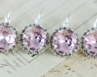 Purple Bridesmaids Gift Bridal Party Earrings Set of 9 Pairs Light Amethyst Lilac Lavender Bridesmaid Jewelry Swarovski Earrings Silver