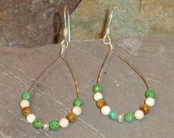 Sterling Silver Beaded Hoop Earrings With Gemstones & Glass Beads