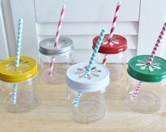 Plastic Mason Jars with Colored Daisy Lids, 32 Plastic Mason Jar Cups, Mason Jar Tumblers, Plastic Jars