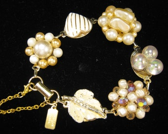 Bridesmaid Gift, Vintage Earring Bracelet, Upcycled, Butter, Cream, Ivory, Gold, Heart, Leaf, Jennifer Jones, Under 40, OOAK - Buttercream