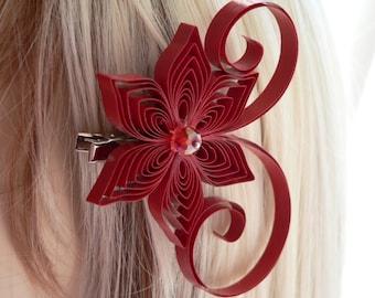 Apple Red Wedding Hair Clip, Crimson Wedding Hair Accessory, Dark Red, Apple Wedding