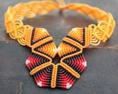 FIBER CHOKER orange & red RAINBOW, micro macrame necklace handmade by ARUMIdesign