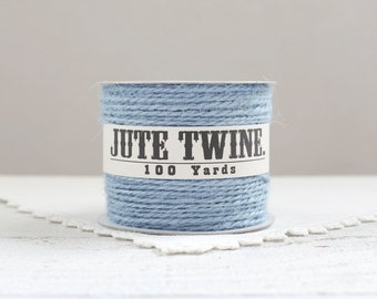 Jute Twine - 100 Yard Spool of Twine, 2-Ply Rustic Craft String, Light Blue