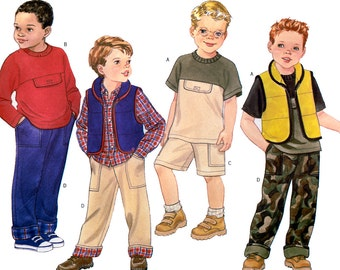 Butterick 6727 Boys' Vest, Top, Shorts and Pants Sewing Pattern - Uncut - Size 6, 7, 8