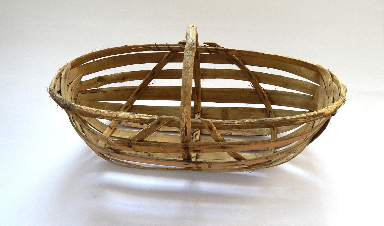 Old Handmade Baskets : French vintage handmade basket possibly by vintagefrenchlinens