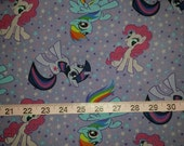 My Little Pony Fabric Cotton Woven - Purple with Twilight Sparkles, Pinkie Pie, and Rainbow Dash