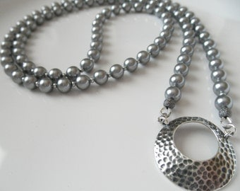 Gray Swarovski Pearl Eyeglass Lanyard Necklace Holder with Antique Silver Hammered Loop - You Choose Length and Color - Eye Glasses Holder
