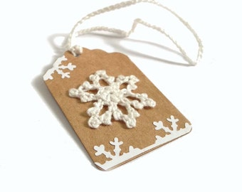 "5 - 2.25""x1.5"" Hand Crocheted Snowflake on Kraft Brown Holiday Gift Tags, Ornaments, Made Using Repurposed, Recycled Materials, Hand Punched"