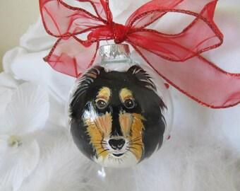 TWO Memorial Ornament Hand Painted  Pet Portrait Animal  Cartoon  Custom  Personalized Cat Dog