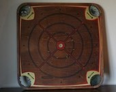 Antique Double Sided Carrom Game Board with Checkers Board - Number 116  -Unique Wall Hanging for Living Room or Family Room - Black and Red
