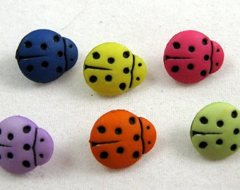 Multicolored Ladybug Buttons Set of Six