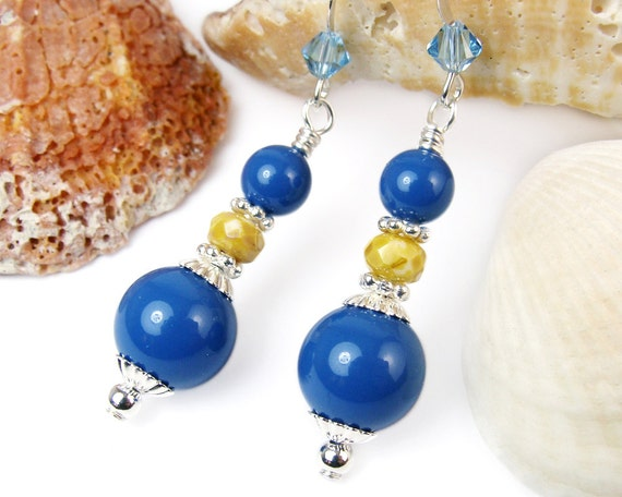 Bright Blue Lapis Pearl Dangles, Yellow Czech Picasso Glass, Swarovski, Aquamarine Crystals, Sterling Silver Ear Hooks, Handmade Earrings