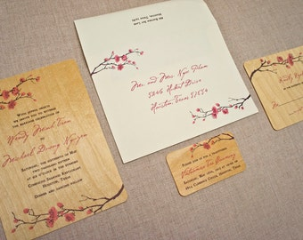 Real Wood Wedding Invitations - Delicate Cherry Blossom