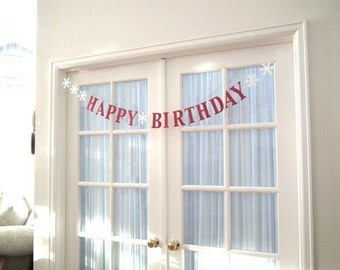 HAPPY BIRTHDAY Banner with Snowflakes.  5280 Bliss.