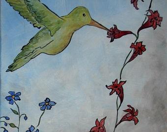 Hummingbird Diptych, two panels original