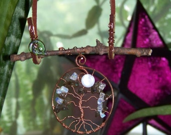 Sticks and Stones Full Moon Tree of Life, Copper, Moss Agate, Opal and Garnet with Shell Moon