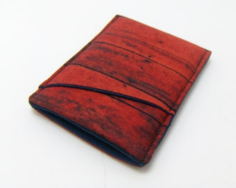 Wallet / Red Barn Fabric / Sleek wallet / 3 pocket wallet / card pouch / card holder / vegan wallet