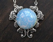 Light Blue Fire Opal Necklace