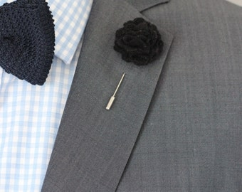 Black classic wool felt carnation boutonniere, flower pin for men, lapel flower, mens boutonniere