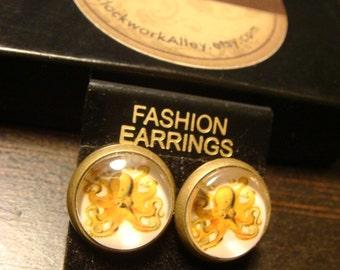 Antique Bronze Octopus Steampunk Earrings - Stud Post (1522)