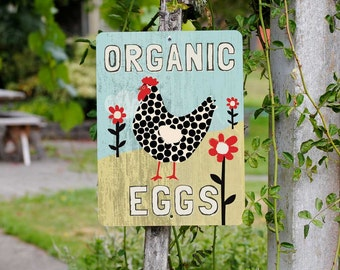 "Organic Eggs Sign 9"" X 12"" Mineral Blue. SKU: SN912594"