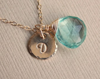 Birthstone Initial Round Disc Charm Necklace, Birthstone Jewelry, Bridesmaids Gift Idea, Personalized Jewelry, Birthstone Initial Necklace