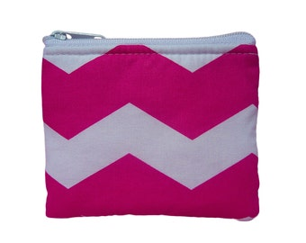 Pink Chevron Print Coin Bag