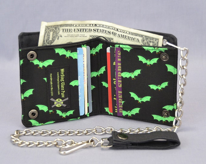 Vegan Chain Wallet Little Green Bats with Black Canvas