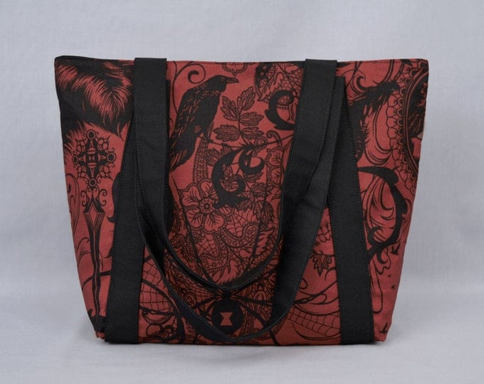 Gothic Zippered Tote Bag, Dark Red and Black, Skull, Black Widow, & Ravens
