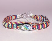 OOAK Rainbow Medical Alert Stainless Steel Charm on Random Rainbow Hemp Bracelet Anklet with Sterling Silver Toggle