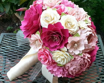 Paper Flower Bouquet - Wedding Bouquet - Bridal Bouquet - Shades of Pink - Custom Made