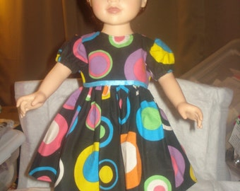 Colorful full dress with puffy sleeves for 18 inch Dolls - ag216