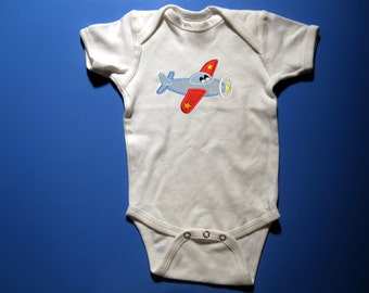 Embroidery and Appliqued Airplane Baby one piece or  Toddler T-shirt