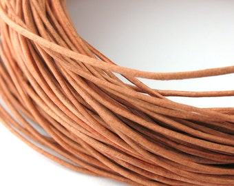 LRD0105001) 0.5mm Natural Genuine Round Leather Cord. 1 meter, 3.7 meters, 5 meters.  Length Available.