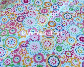 "cotton fabric, floral print cotton fabric, half yard by 60"" wide, last piece"