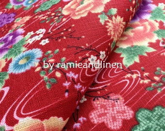 "Japanese Kimono cotton fabric, floral print Slub cotton fabric, half yard by 45"" wide"