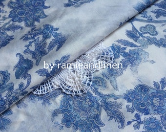 "silk fabric, blue and white, china blue floral print silk cotton blend fabric, half yard by 54"" wide"