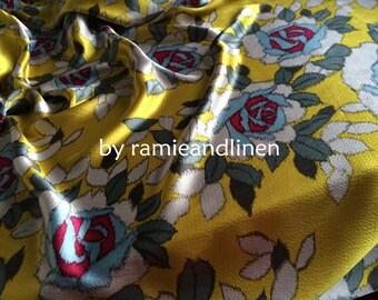 """silk fabric, deep pink and blue roses on mustard yellow silk satin, pure mulberry Silk Charmeuse Fabric, dress fabric, one yard by 44"""" wide"""