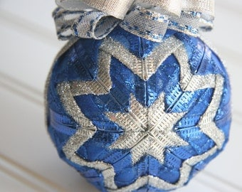 Quilted Christmas Ornament Ball/Blue and Silver - Wrapped in Blue