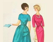 Vintage 1950s Mock Wrap Dress Pattern Size 14 Bust 34 Simplicity 4230