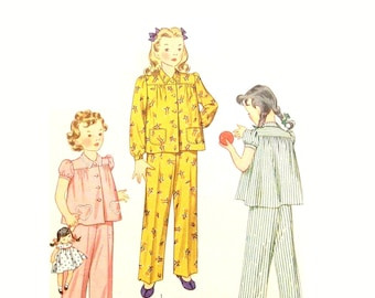 Vintage 1940s Classic Pajamas Pattern Girls Size 4 Chest Bust 23 Simplicity 2054