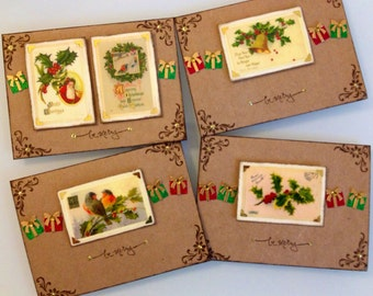 Vintage Christmas Card Set of 4 / Ready to ship
