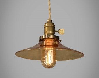 Industrial Lighting - Amber Glass Pendant Lamp - Vintage Industrial Hanging Light - Steampunk Lamp - Pharmacy Light - Swag - Cafe Lighting