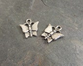 SALE Sterling Silver Butterfly Charms, 2 Charms, Thai Silver