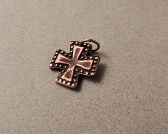 35% OFF SALE Copper Cross Pendant, Copper Cross Charm, Maltese Cross, Copper Pendant, Iron Cross Pendant, Oxidized Copper, Artisan Jewelry