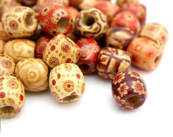 Wood Beads, Large Wooden Beads, Design Wood Beads, 25pc