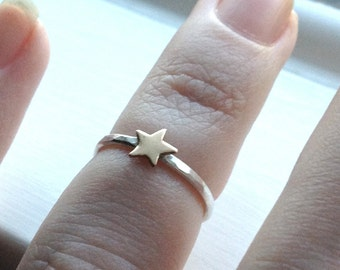 Tiny Gold Star Ring, Over the Knuckle Ring, Midi Ring, Knuckle Ring, Sterling SIlver Stacking Ring, Gold Ring